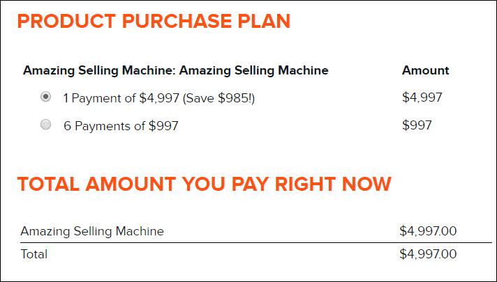 amazing selling machine pricing